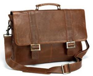 Tan leather briefcase