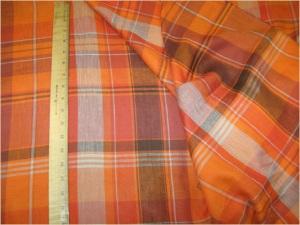 Tunt bomullstyg: Orange Taupe Plaid