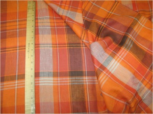 Tunt bomullstyg: Orange Taupe Plaid