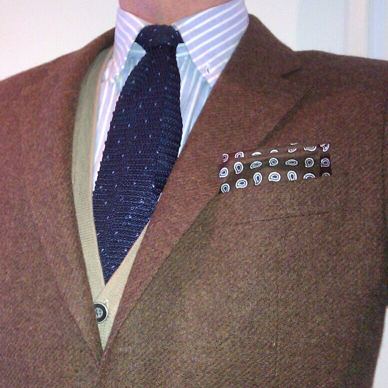 Brown brown hank knit tie 757e9eb1b88a0